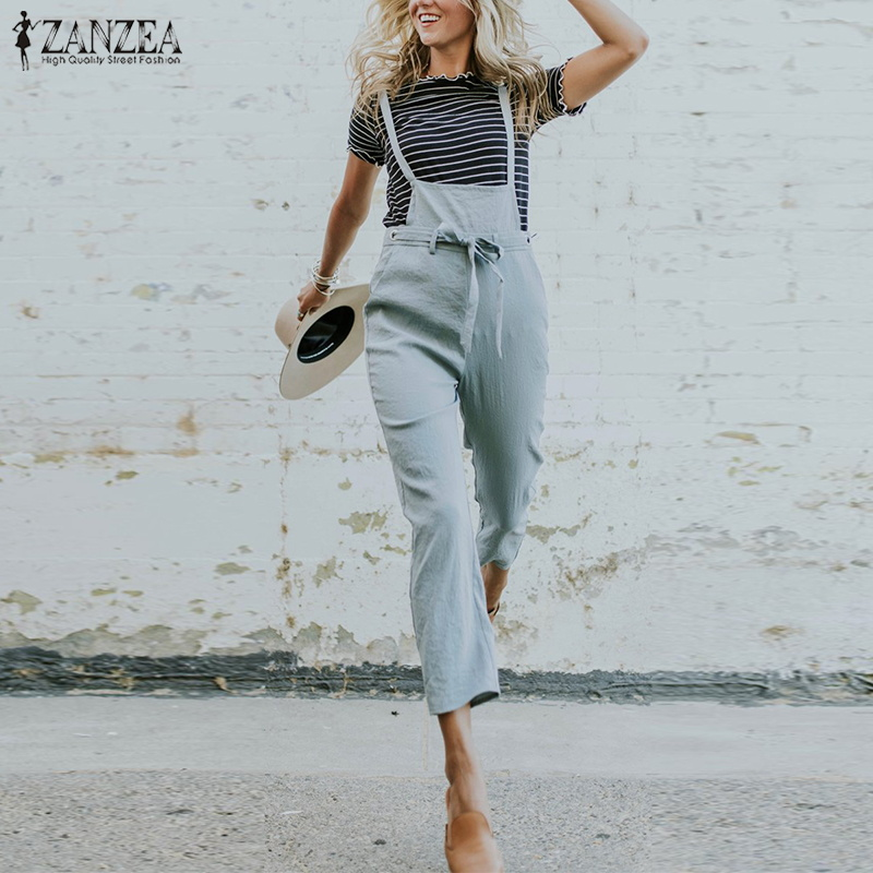 2019 Summer ZANZEA Women Casual Pencil Pants Solid Cotton Linen Long Rompers Strappy Party Loose Turnip Jumpsuit Overalls S 5XL