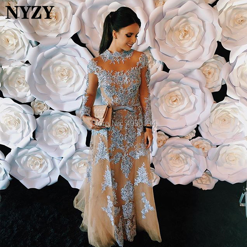 NYZY E61 Long Sleeve Evening Dress A-line Lace Beaded Blue Champagne Formal Dress Vestidos De Festa Robe De Soiree 2019