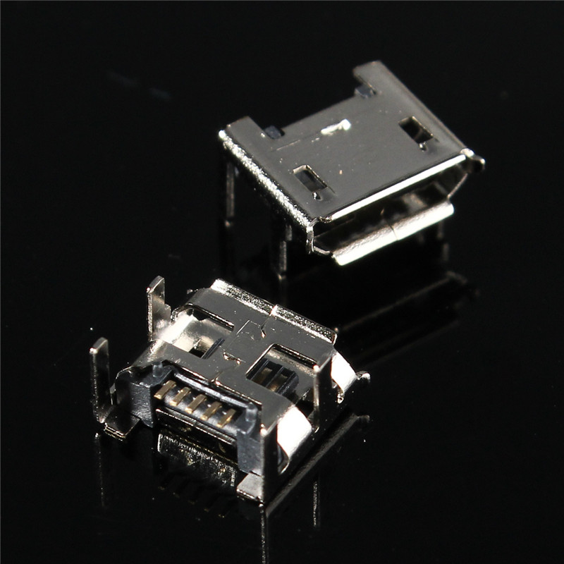 10Pcs <font><b>Micro</b></font> <font><b>USB</b></font> Jack Type B Female Socket 4 Vertical Legs Fixed Solder <font><b>Connectors</b></font> Charging Socket <font><b>PCB</b></font> Board for Mobile Phone image