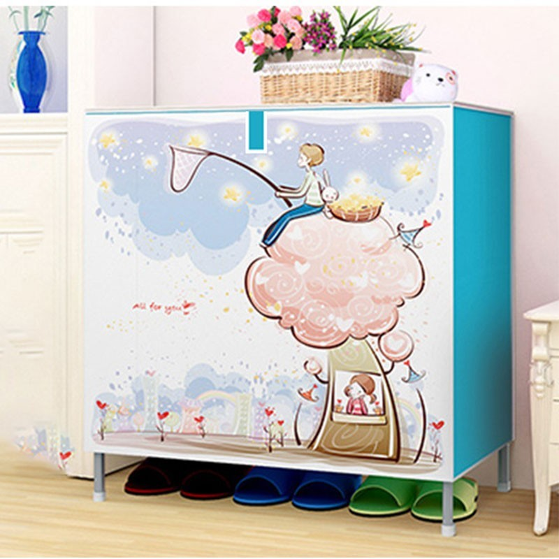 Cartoon Dust-proof Metal Home Shoe Racks Storage Cabinet Shoemaker Cupboard Organizer Living Room Furniture Modern Shelving