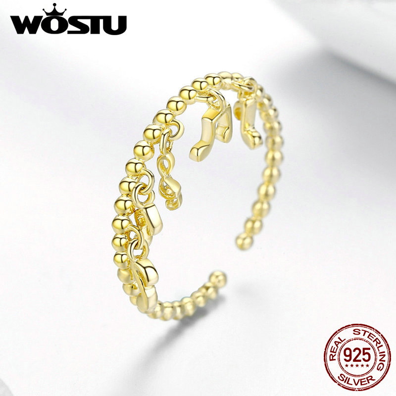 Image 2 - WOSTU 100%Real Original Golden Color Note With Round Finger Ring For Women Noble Fashion Jewelry Ring For Gifts  BKR489Rings   -