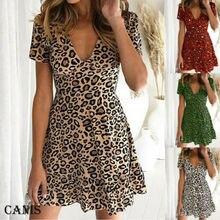 Хит, женское летнее Короткое мини-платье в стиле бохо с леопардовым принтом, одежда для вечеринок и клубов, пляжный сарафан с глубоким v-образным вырезом