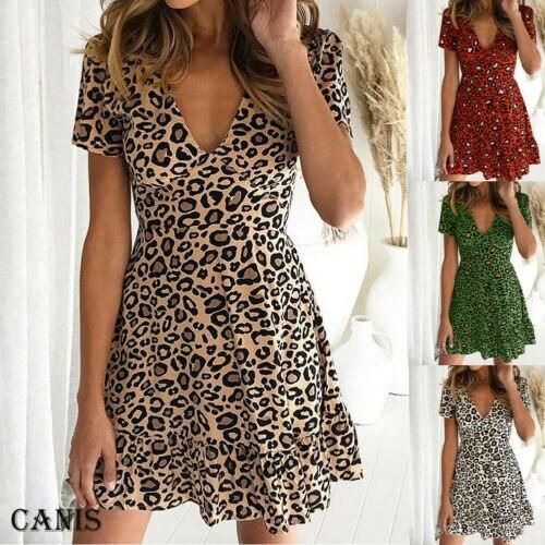 2019 Hot Women Summer Boho Short MINI  Leopard Dress Evening Party Club Wear Beach Sundress Deep V Neck