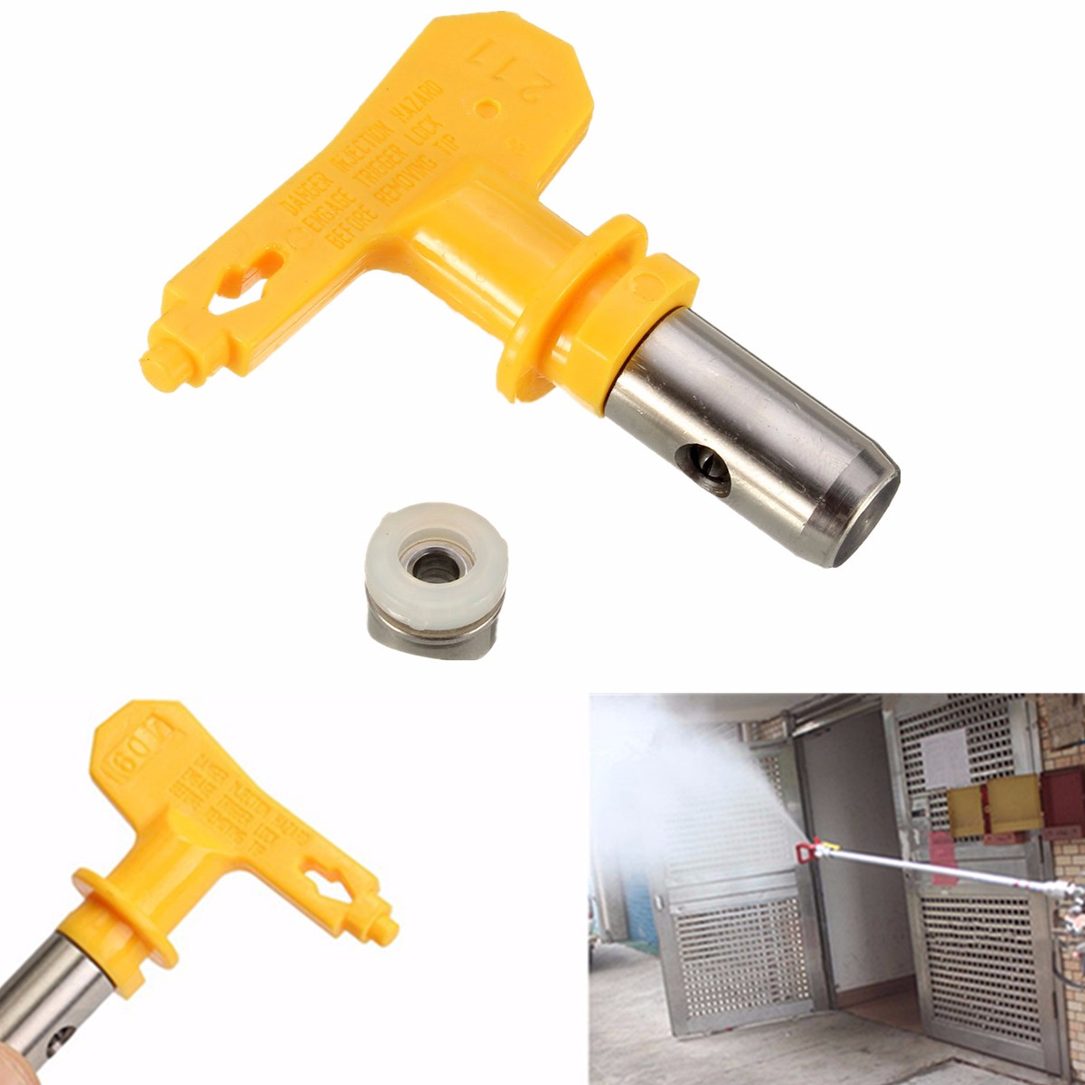 Buse aérographe série 2 jaune pour peinture aérosol de peinture sans air G un outil de réparation automatique de pulvérisateur de peinture Portable