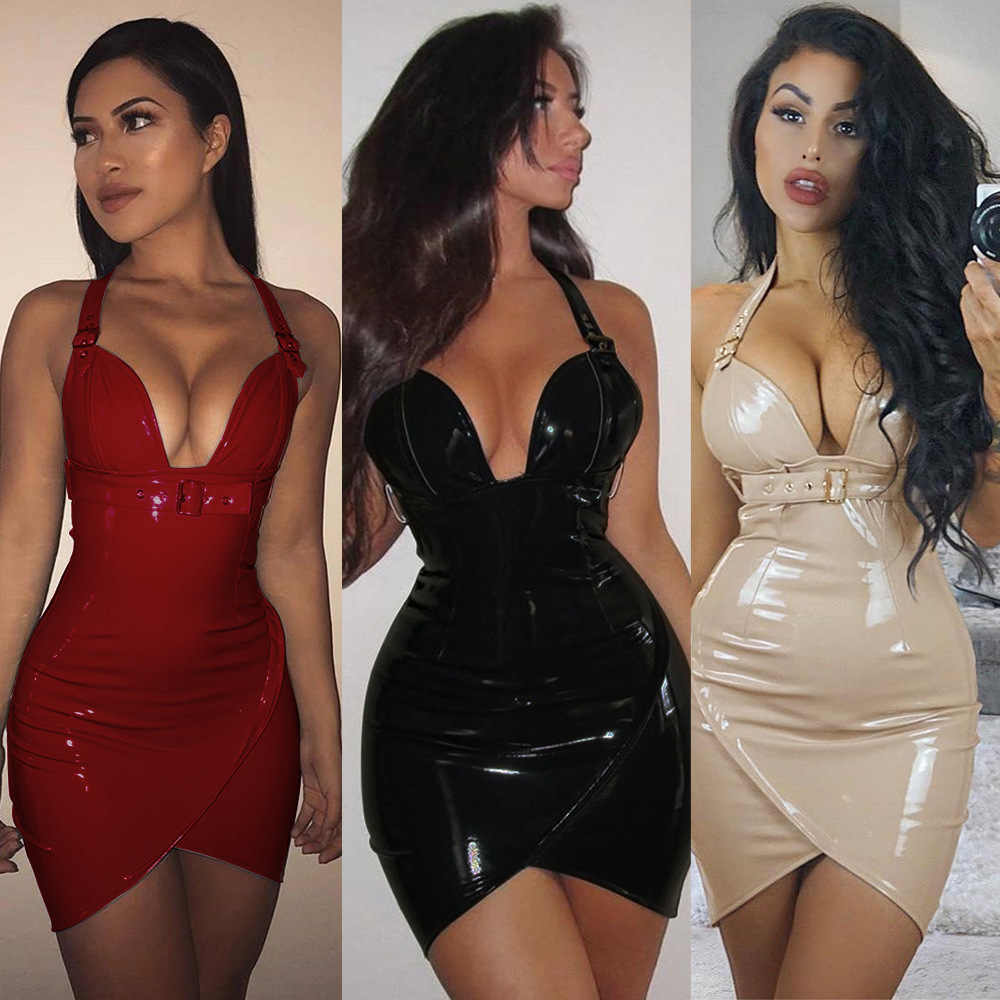 08d026e661 ... Sexy Buckle Belt Glossy Pvc Leather Club Halter Dress Deep V Neck Party  Queen Nightclub Tube ...