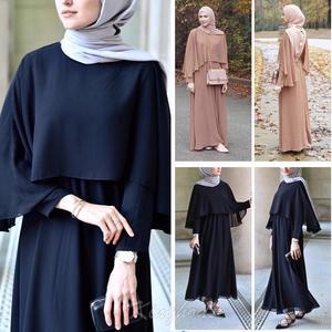 Image 1 - Arabischen Vestidos 2019 Lange UAE Abaya Dubai Kaftan Kimono Leinen Maxi Muslimischen Schal Bodycon Hijab Kleid Frauen Türkisch Islamische Kleidung