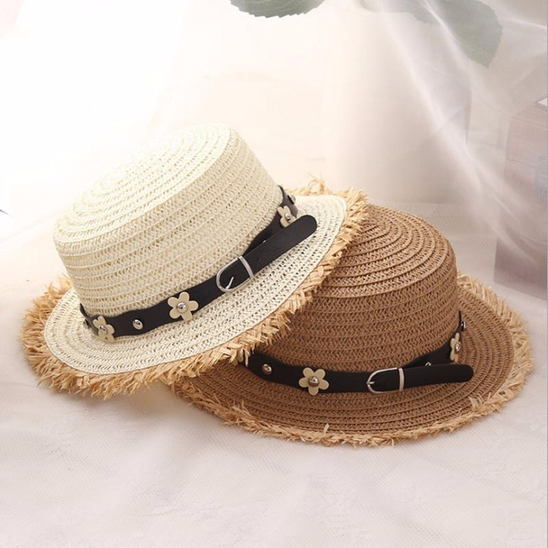 Flat Top Straw Hat Summer Spring Women's Trip Caps Leisure Pearl Beach Sun Hats Black Breathable Fashion Flower Girl Hats