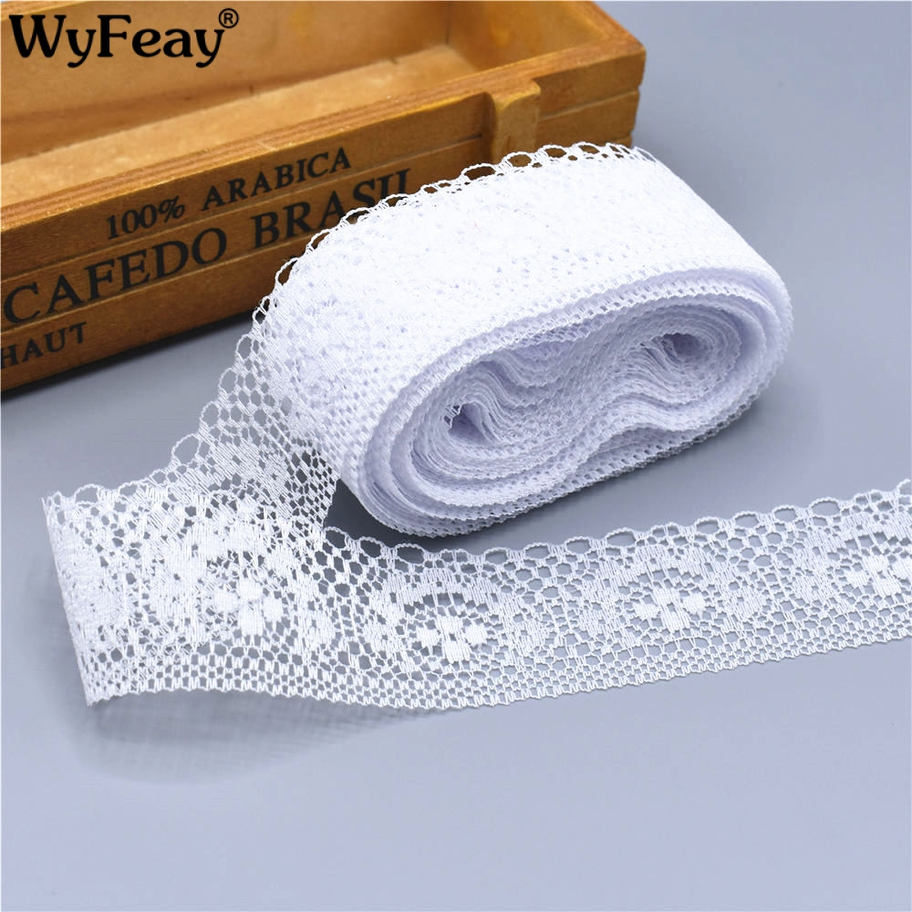 10 Yards High Quality Beautiful White Lace Ribbon Tape 40MM Lace Trim DIY Embroidered For Sewing Decoration african lace fabric(China)