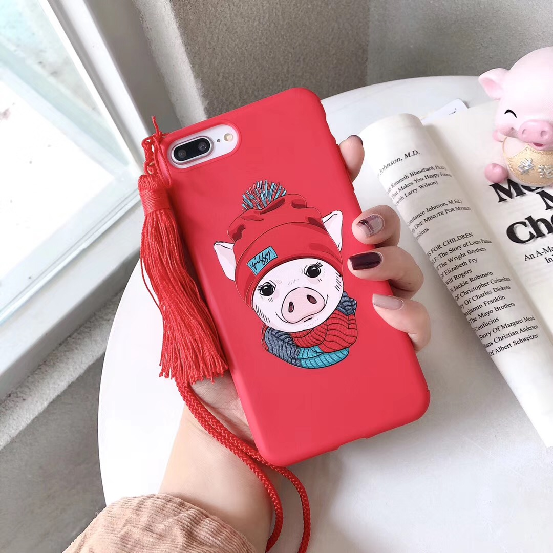 Hot lanyard red piggy phone case for iphone X 7 7plus cute cartoon pig matte soft TPU box for iPhone6 6s 8plus XS MAX XR case