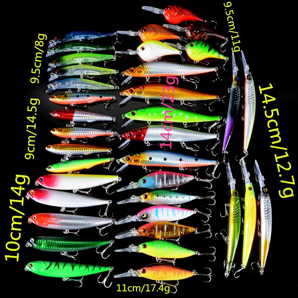 36 pcs pcs set iscas de pesca misturadas 7 diferentes estilo duro iscas pesca wobblers isca