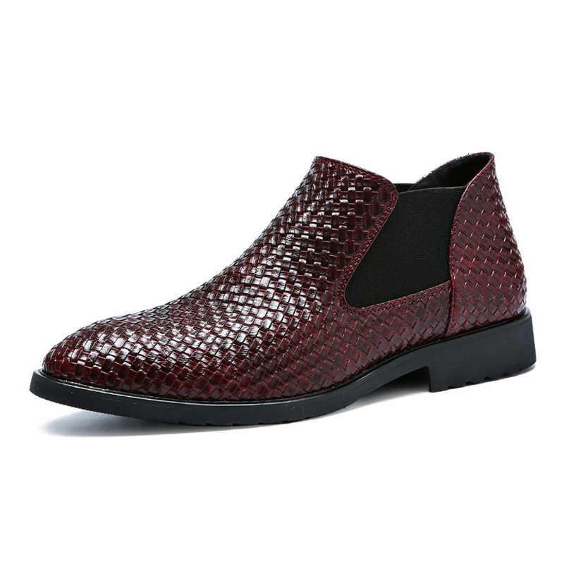 IMAXANNA Schoenen Mannen Lente Zomer Business Jurk Schoenen Weave Platte Hakken Schoenen Mannelijke Martin Enkellaarsjes Man Chelsea Laarzen