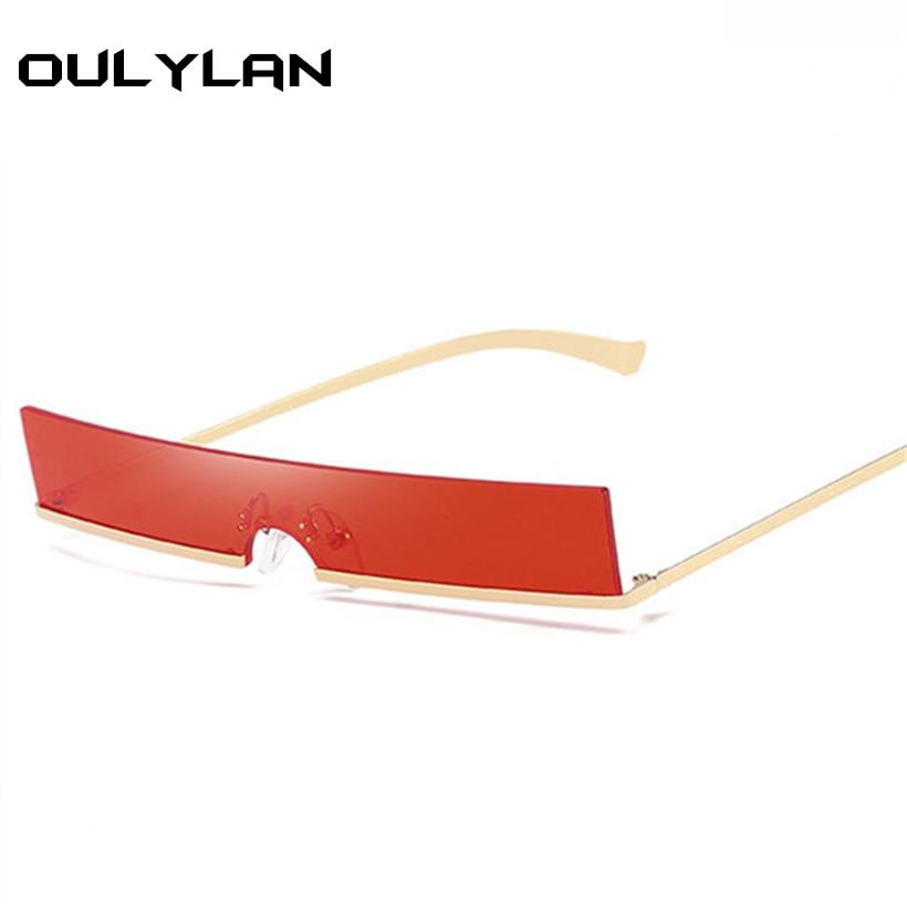 Oulylan Rectangle Sunglasses Women Trend Metal Frame Small Sun Glasses Designer Female Vintage Fashion Skinny Red Sunglass UV400