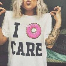 I Donut Care Letter Printed T-shirt Women Funny Donut T Shirt