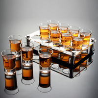 Liquor Spirits Shot Glass Set With Holder Shelf B52 Bomber Rainbow Cocktail Wine Glass Household Bar KTV Club Party Bullet Cup
