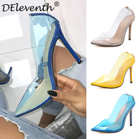 DEleventh Sexy fashion ladies party wedding women's shoes stilettos high heels pointed toe transparents pumps shoes yellow blue