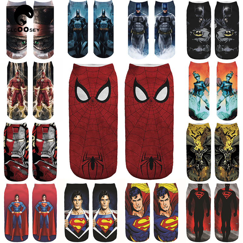 3D Heros Boat Socks Superman Batman Iron Man Spiderman Arrowman Bruce Pattern Superheroes Invisible Cotton Happy Socks