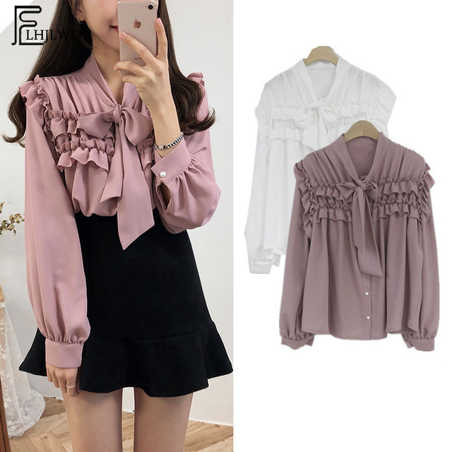 cd13300061a27 2019 Cute Sweet Bow Tie Tops New Hot Women Fashion Long Sleeve Ruffled Top  Preppy Style Pink White Vintage Shirt Blouse 901