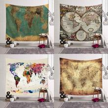 Vintage World Map Printed Polyester Wall Hanging Tapestry Room Decorative Wall Tapestry Carpet Yoga Beach Towel Tablecloth Decor new printed wall hanging tapestry world map tapestry beach towel blanket carpet rectangular tablecloth room decorative tapestry