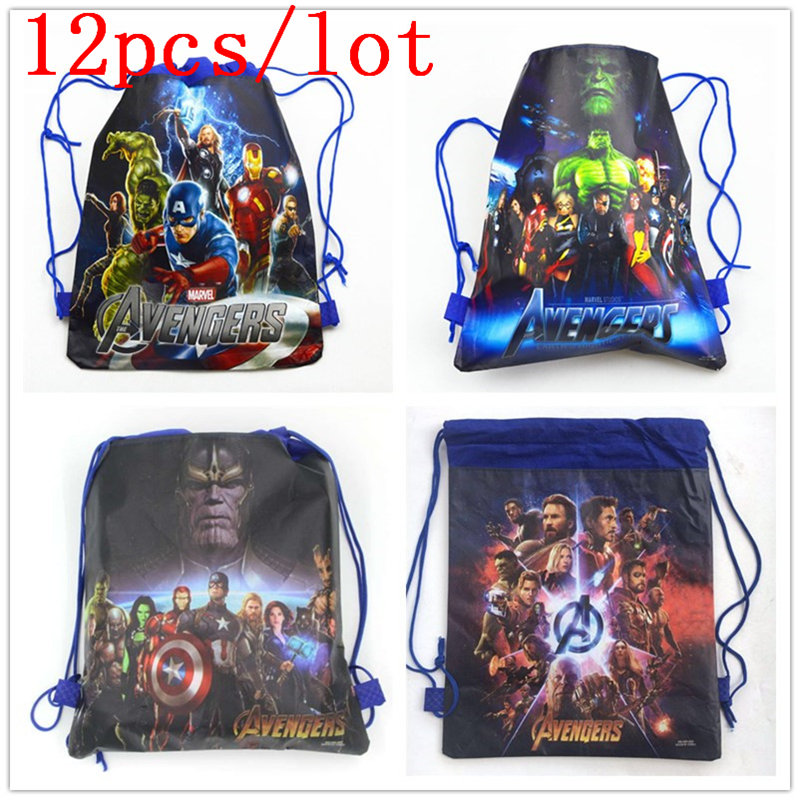 12PCS Kids Favors Avengers Theme Boy Girl Birthday Party Drawstring Bags Decoration Christmas Non-Woven Fabric Backpack Supply12PCS Kids Favors Avengers Theme Boy Girl Birthday Party Drawstring Bags Decoration Christmas Non-Woven Fabric Backpack Supply