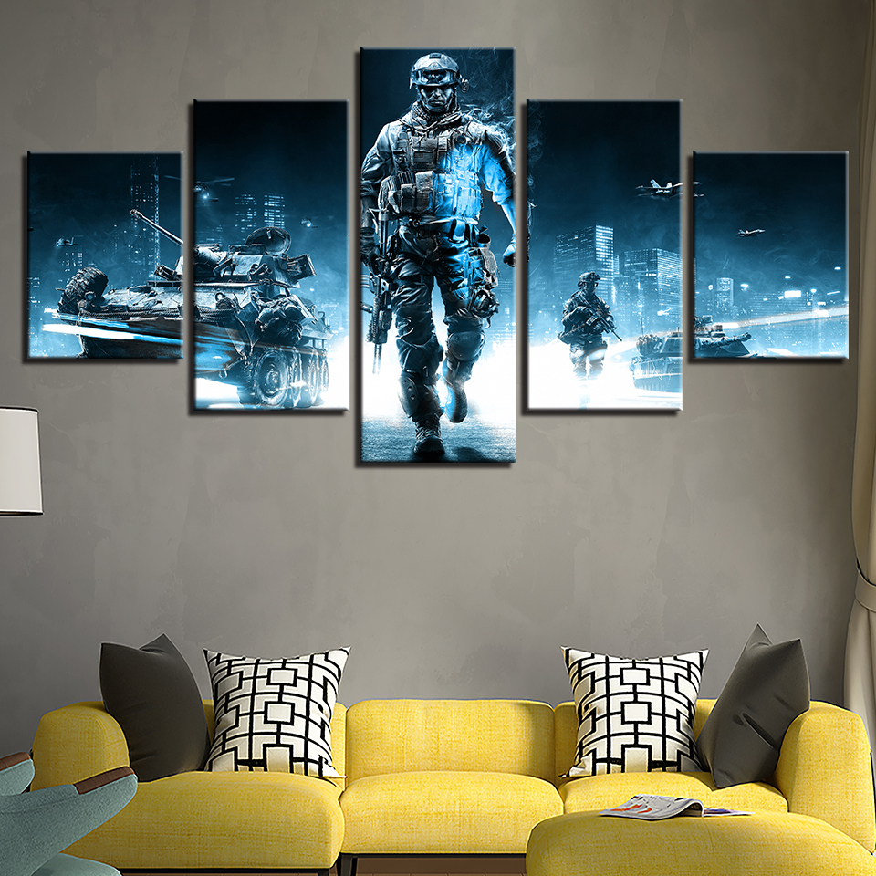 Home Decor HD Printed Canvas Painting 5 Pieces Game Battlefield 3 Theme Modular Posters Pictures For Living Room Wall Art Frames