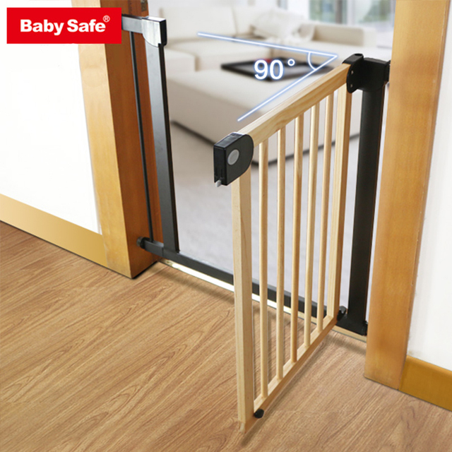 King bo Solid wood red color yellow color white color baby safety gate pet isolation fence 75-82cm width Hong kong free