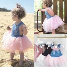 fb0cf717ac New Arrivels Toddler Kids Baby Girl Princess Denim Sleeveless Dress Tutu  Sundress Summer 2-7Y