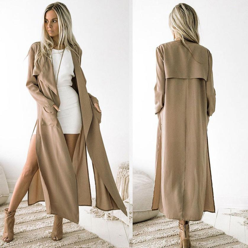 Fashion Women's Long Coat Jacket Trench Windbreaker Parka Outwear Cardigan 2019 Women Blouses Shirts Summer Women Tops Female