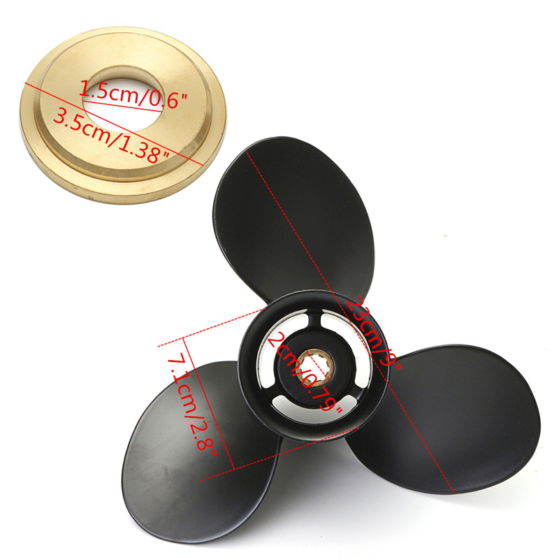 6-15HP 48-828156A12 Outboard Propeller For Mercury Aluminium Alloy Black 3 Blades 8 Spline Tooth Fast Hole Shot Perform Well