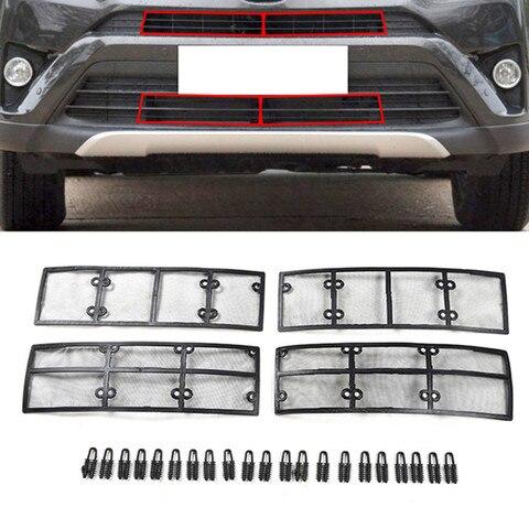 4 pcs set inseto liquido de aco inoxidavel plastico grade dianteira do carro para toyota