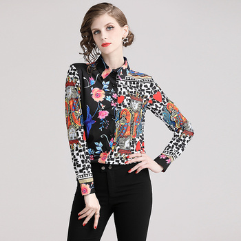Blusas camisa primavera estampado multicolor manga larga