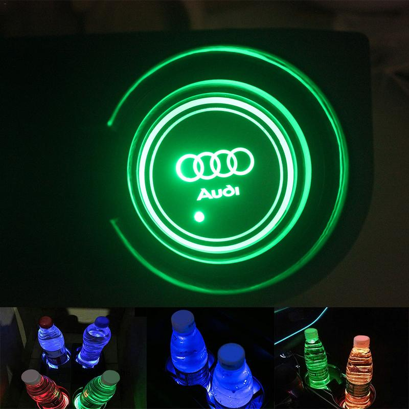 2pcs Car Led Light Coaster Anti-slip Cup Mat Flag Pattern Colorful Cup Pad Smart Atmosphere Light Non-slip Coaster Online Shop Interior Accessories Automobiles & Motorcycles
