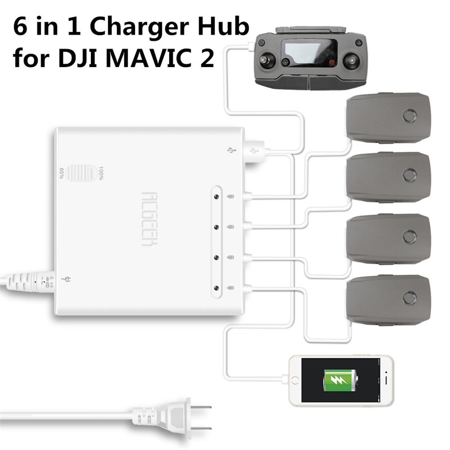 6 In 1 Mavic 2 Charger Battery Charge Remote Control Phone Tablet Charge For DJI Mavic 2 Pro / Zoom Charger Hub With USB Port