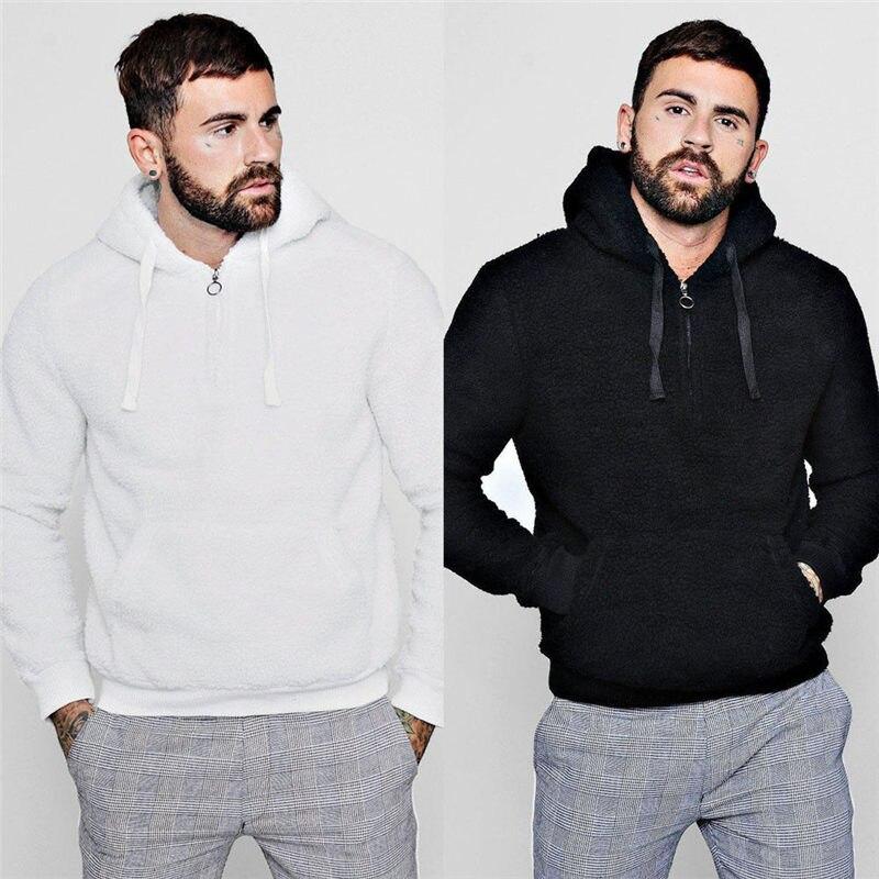 Hirigin Men Spring Winter Warm Fluffy Hoodies Fleece Sweatshirts Fashion Leisure Hooded Pullover for Man Comfort Sweatshirt