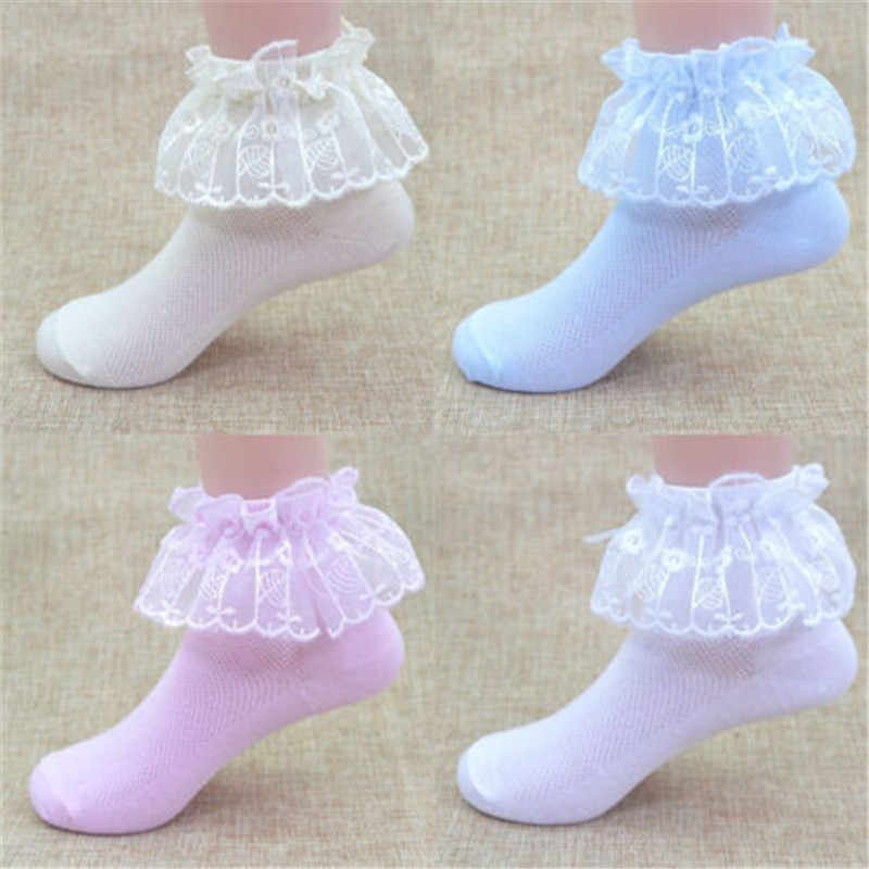 1pair Cotton Baby Socks Newborn Floor Sock Girl Short Princess Girl Toddler Kids Baby Vintage Lace Bow Ruffle Frilly Ankle