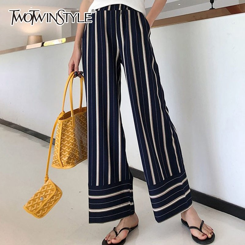TWOTWINSTYLE Casual Ankle Length Elastic Striped Trousers For Women High Waist   Wide     Leg     Pants   Female 2019 Spring Fashion Tide