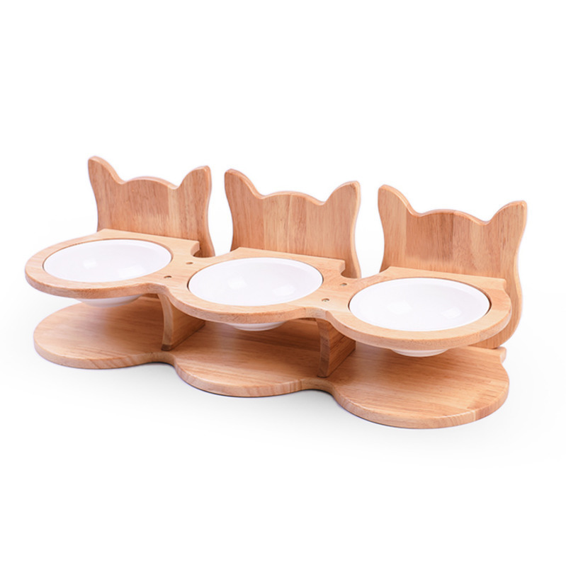 Solid Wooded Ear Pet Feeding Drinking Bowl With Bamboo Frame Dog Cat Dining Table Pet Food Water Ceramic Feeder Container Cw247