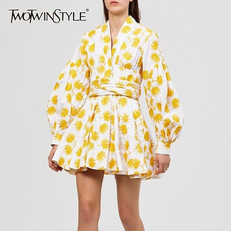 Deutwinstyle été imprimer broderie femmes robe col en V lanterne manches taille haute à lacets Mini robes femme mode 2019