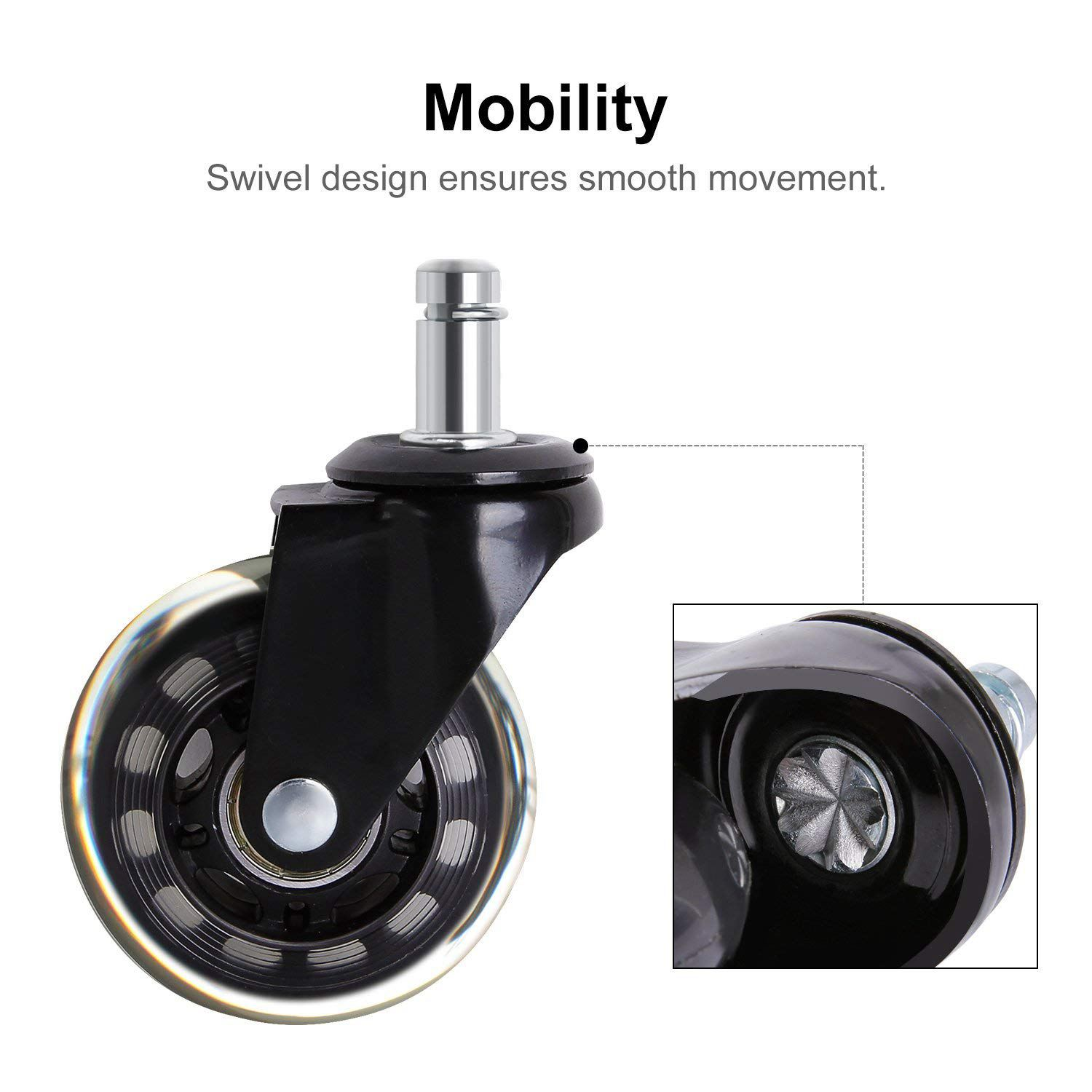 Image 3 - 5 PCs Black Office Chair Caster Wheels 2.5 Inch Swivel Rubber Caster Wheels Replacement Soft Safe Rollers Furniture HardwareCasters   -