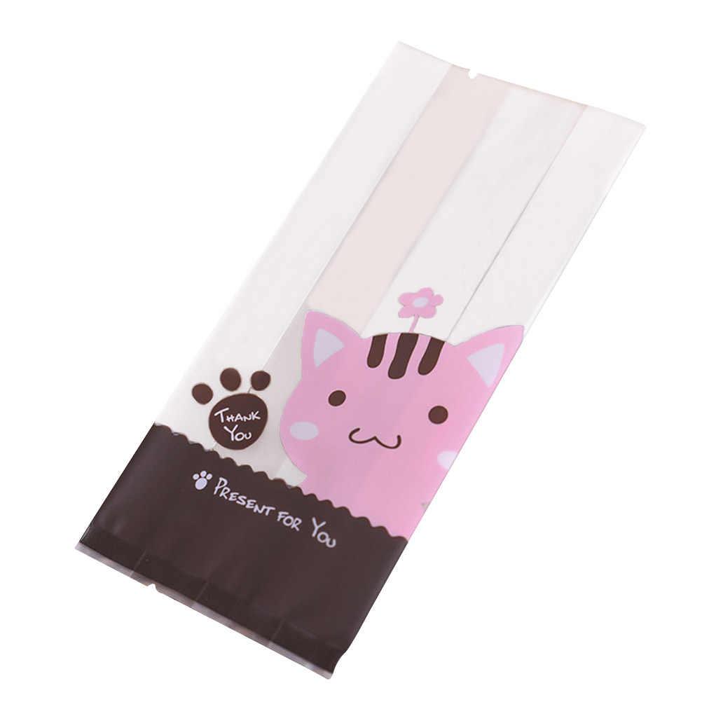 100 pcs אריזת תיק יפה Moistureproof חתול דפוס קריקטורה פלסטיק פאוץ שקיות מתנת קוקי מאפה סוכריות