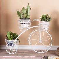 Metal Stand Plant Rack Flower Shelf Balcony Outdoor Indoor Pot Plant Stand Garden Decor Flower Rack Wrought Iron Bicycle Style