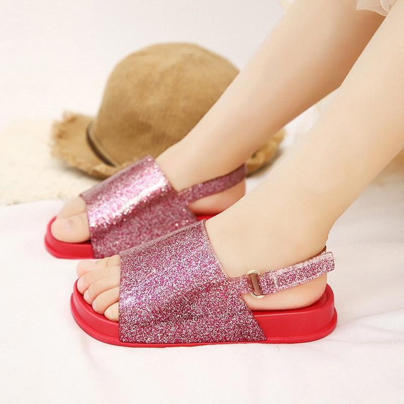 2019 New Mini Melissa  Children Shoes Sandals For Girls Casual Sandals Slip Wear-resistant Children Mini Melissa Beach Sandals