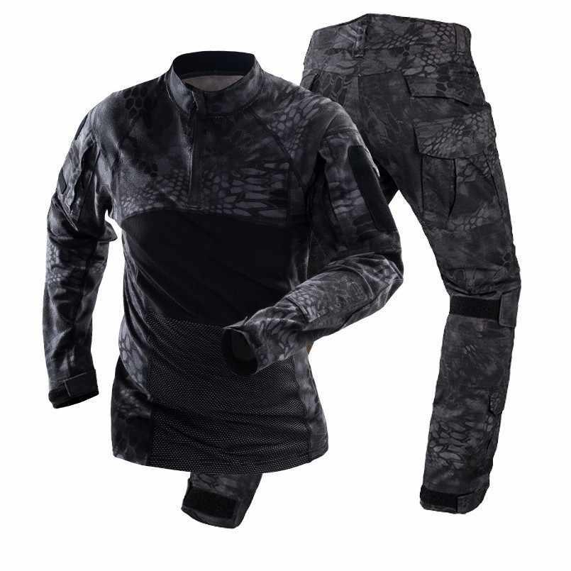 2019 Homem de Combate Do Exército Uniforme de Combate Tático Militar Camuflagem Conjunto de Treinamento Terno Camisa + Calças Cargo Roupas de Alta Qualidade