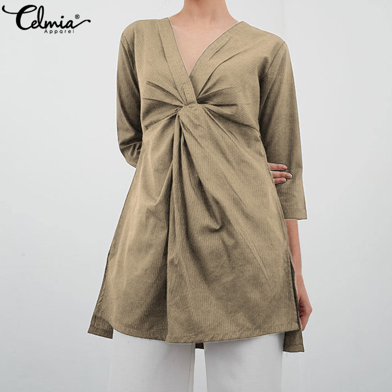 Celmia Vintage Women Blouse 2019 Summer Sexy V-neck Twisted Pleated Shirts Loose Asymmetrical Linen Tops Casual Blusas Plus Size