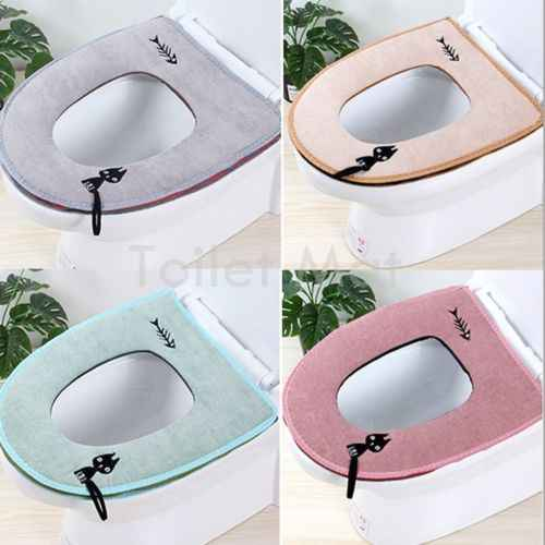 Comfortable Velvet Coral Bathroom Toilet Seat Cover Washable Closestool cat tail Pattern Soft Cushion Warmer Mat Cover Pad