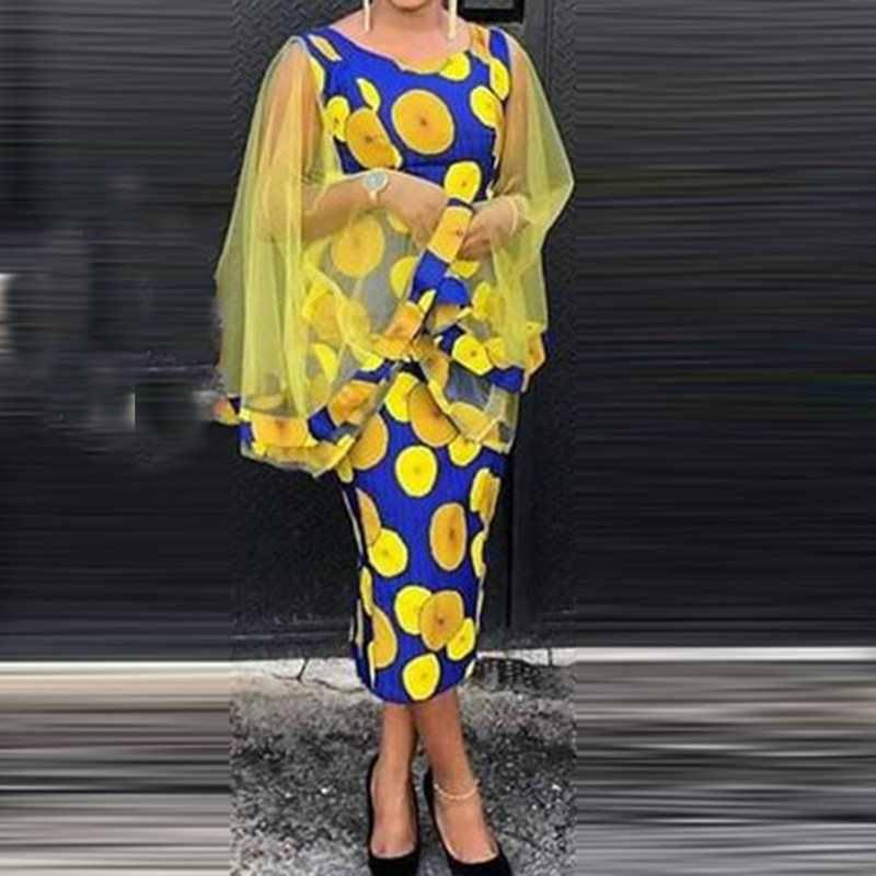 Сексуальное облегающее платье женские вечерние модные сетчатая Мантия с длинным рукавом в горошек винтажные элегантные женские 2019 Летние повседневные миди-платья