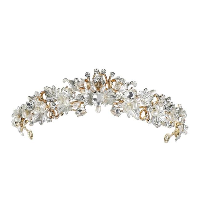 Gold Tiara Baroque Crown for Girls Wedding Hair Accessories Hairband Leaf  Crystal Metal Headband Bridal Headpiece 68cb3d4b2372