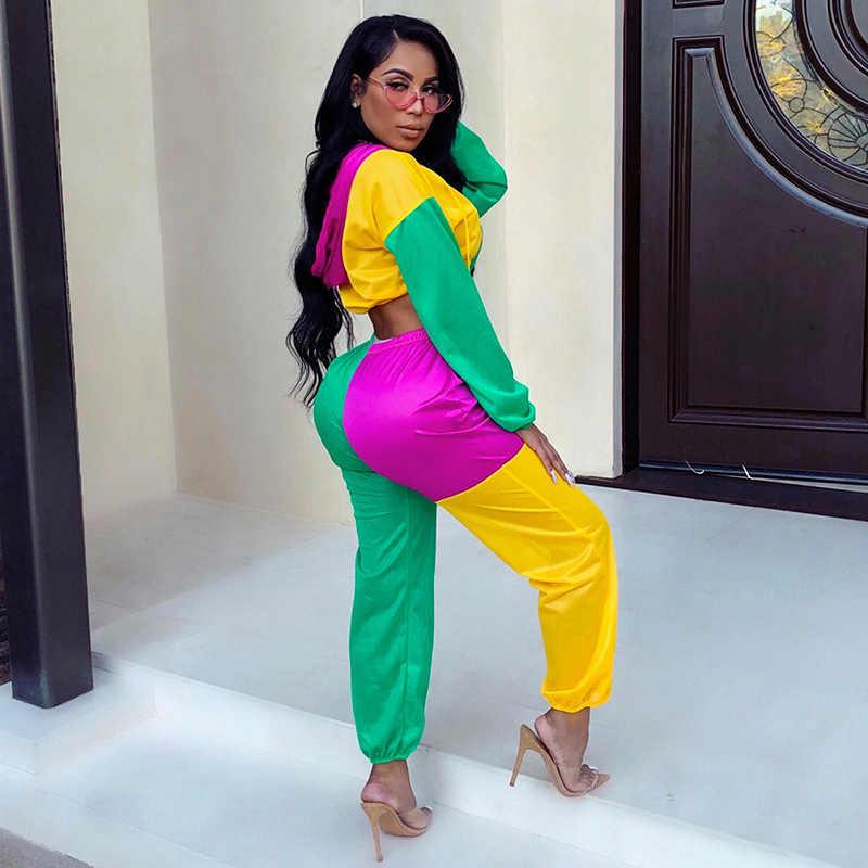5a85dd607771 ... TWO PIECE SET Hoodies Matching Tracksuit Vogue Jogging Satin Suit  CONTRAST Color Women Sweatsuits Jogger Pants ...