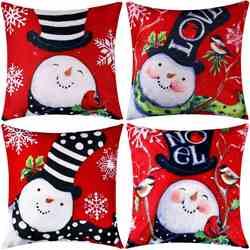 Gorąca sprzedaż 4 sztuki poszewka na poduszkę rzuć poduszka bawełniana lniana poduszka na boże narodzenie jesień  18 na 18 Cal w Poszewka na poduszkę od Dom i ogród na