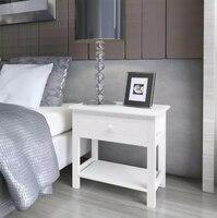 VidaXL Bedroom Desk Bedside Cabinet Wood White Living Room Cabinet Furniture Night Table Home Storage Desk