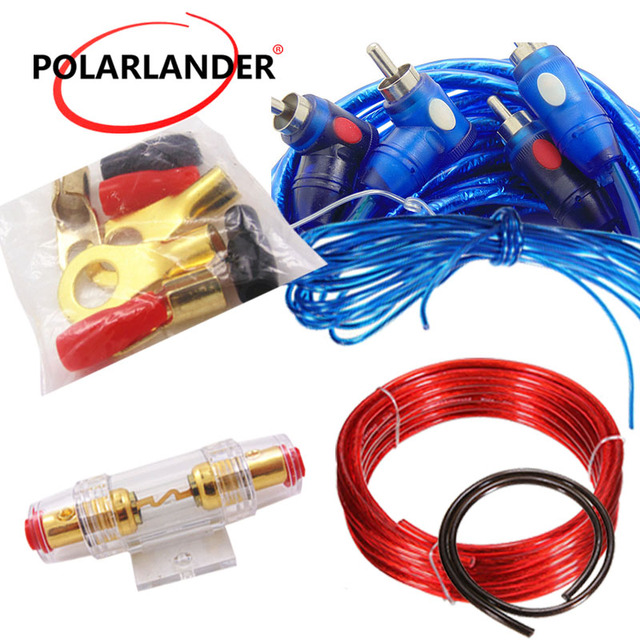 Cheap Car Audio Wire Wiring 8GA Power Cable 60 AMP Fuse Holder 1500W Amplifier Subwoofer Speaker Installation Kit
